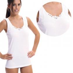 Camiseta mujer tirante ancho y bordado Lara