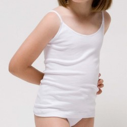 Camiseta tirantes niña de algodón elastano