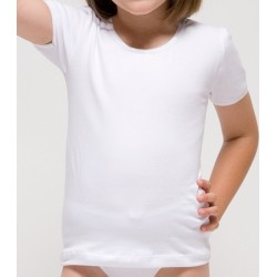 Camiseta manga corta niña algodón elastano