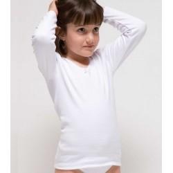 Camiseta niña manga larga afelpada algodón