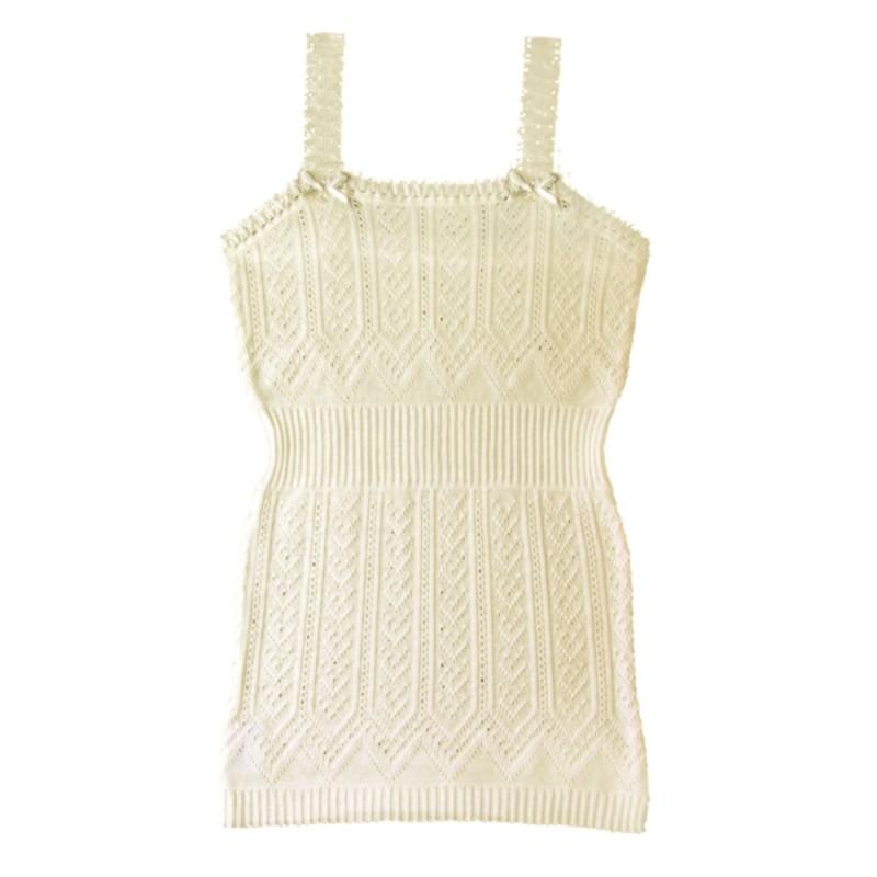 Camiseta beig de tirantes de perle de algodón
