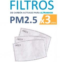 Filtros carbón activo para mascarilla KITMASC pack 3 unidades