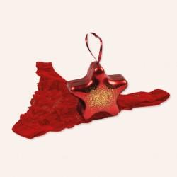 Tanga rojo de encaje con caja de estrella