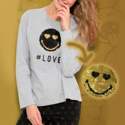 Pijama Smiley de mujer con carita de lentejuelas