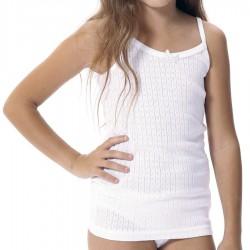 Camiseta niña tirante fino de algodón calado
