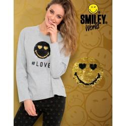 Pijama mujer con carita Smiley de lentejuelas